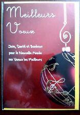 """H9) Carte """"Meilleurs Voeux"""" boule rouge + enveloppe jaune - Neuf"""