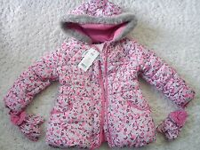 NEW NICE SPRING AUTUMN WINTER FUR FLOWERS GIRL COAT JACKET 3/4 YRS WITH GLOVES
