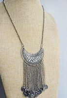 Silver Boho Chic Vintage Style Bohemian Mexican Gypsy Tibet Tassel Necklace