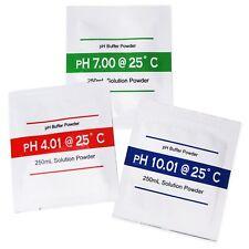 Polvo de Calibración de pH 4.01, 7.00, 10.01 Solución Tampón Paquetes de 250ml