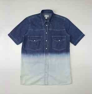 Laura Kent Mens Dyed Two-Tone Denim Short Sleeve Shirt With front Pockets size S