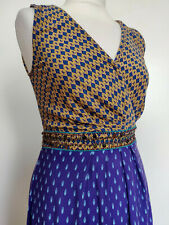 MONSOON Brown Blue Sleeveless Wrap Bodice Embellished Midi Summer Dress 10