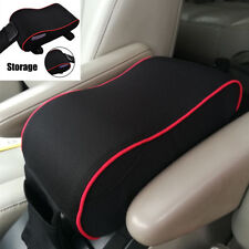 Memory Foam Center Console Lid Cover Armrest Pillow Pad Black & Cellphone pocket