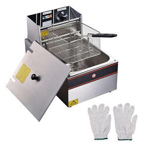 12L Electric Deep Fryer Commercial Kitchen Frying Basket Chip Cooker