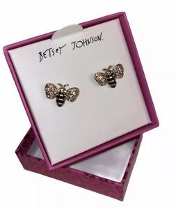 New BETSEY JOHNSON BEE Shape Stud Rhinstone EARRINGS With Box