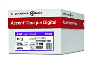 Accent Opaque, Super Smooth White 28lb / 70lb, 13 x 19, 97 Bright, 1,800 Sheets