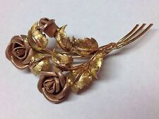 FLOWER AND LEAFS 14K TWO TONE GOLD BROOCH PIN