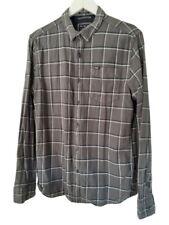 Mens Superdry Check Shirt Size Large Grey Navy Blue Alumni Oxford Brushed Cotton