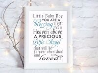 baby boy blessing birth quote a4 glossy Print picture gift wall art unframed