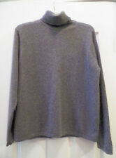 Valerie Stevens 2-Ply 100% Cashmere Knit Soft Gray Turtle Neck Sweater  L