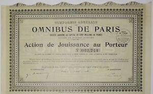 Compagnie générale des Omnibus de Paris Action de jouissance 1928