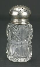 Antique Cut Glass With Sterling Silver Lid Inkwell Drying Sand Pot Bottle