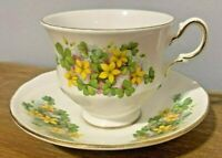 Vintage Queen Anne Fine Bone China Tea Cup & Saucer Yellow Flowers England
