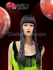 """Iridescent black """"oil-slick"""" blunt-cut Cher inspired Drag Queen's beaded Wig"""