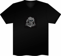 XXL SOUND ACTIVATED SKULL HALLOWEEN BONES FLASHING LIGHT UP DOWN LED T SHIRT EL