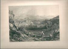 1847 ISOLA DI SORA Isola del Liri Frosinone acquaforte originale acciaio Mapei