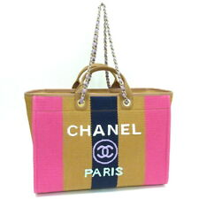 CHANEL Deauville Tote Bag 20c Chain Shoulder A93786 Shopping Purse Woman