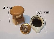lot objets miniature,maison de poupée, vitrine,tabouret, tableau, miroir  S7-01