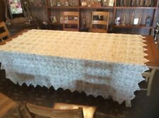 Vintage Hand Crocheted Coverlet With Fabric Pieces...Beautiful