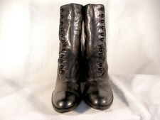 Nos Antique Edwardian Period Black Leather 12-Button Ankle Boots