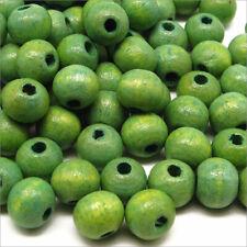 Lot de 100 Perles Rondes en Bois 8mm Vert-Jaune
