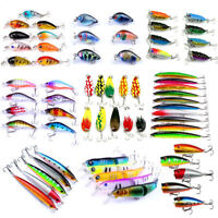 Lot Kinds of Fishing Lures Crankbaits Hooks Minnow Baits Tackle Crank Set Tools