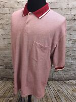 Pendleton Short Sleeve Polo Golf Shirt Mens XL 100% Cotton Red White Pattern