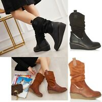 Womens Riding Boots Wedge Low Heel Ladies Mid Calf Zip Buckle Winter Shoes Size