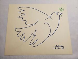 """Picasso 10x12 """"Dove of Peace"""" original lithograph signed dated 28-12-61"""