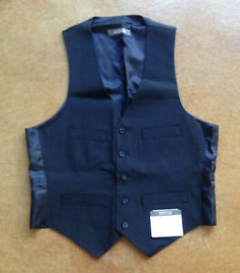 New Kenneth Cole Reaction Men Classic Fit Grid Suit Vest, Navy, 36S/W29