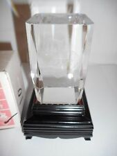 """SOLID GLASS 3-1/8""""x2""""  LASER ETCHED HEART WITH """"LOVE""""  W LIGHT UP STAND NIB"""