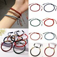 Women Men Handmade Buddhist Lucky Charm Tibetan Bracelets Knot Adjustable Rope