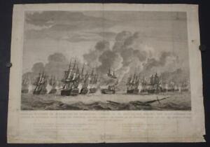 EGMOND NETHERLANDS 1798 VINKELES  ANTIQUE COPPER ENGRAVED NAVAL BATTLE SCENE