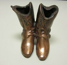 "Vintage 2-1/2"" Miniature Copper Double/Pair Cowboy Boots Toothpick Holder"