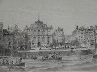 Litho VUE LE HAVRE MUSEE RUE DE PARIS MER BATEAU MER NORMANDIE NORMANDY 1840