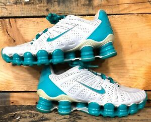Women's Nike Shox TLX Athletic Shoes 488344-030 Size 5  White / Teal