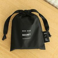 Portable Makeup Cosmetic Pouch Organizer Nylon Drawstring Black Storage Bag