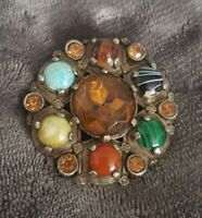 Vtg Miracle Brooch Scottish Celtic Citrine/Amber/Turquoise banded Glass Stones
