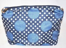 Cosmetic Makeup Hand Bag Purse Pouch Blue Polka Dot Gold Trim Medium