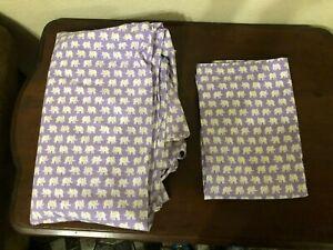 Pottery Barn Kids Twin Duvet Cover & Pillow Sham Lavender Purple White Elephant