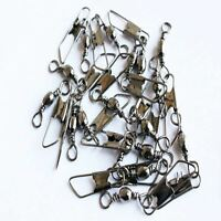 100PCS Stainless Steel Fishing Barrel Swivel W/Safety Snap Connector Tackle Tool