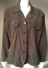 Plus Size Fashion Bug Brown Button Down Stretch Shirt Size 18 20 1X