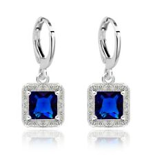 Party Show White Gold Filled Square Cubic Zircon Drop Earrings For Lady