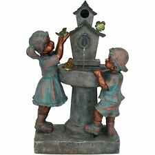 "Sunnydaze Boy & Girl at Birdbath Outdoor Water Fountain 30"" Backyard Feature"