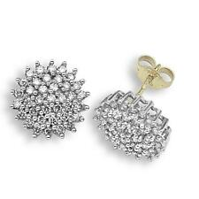 9ct Yellow Gold 1ct Real Diamond Cluster Earrings J - I1