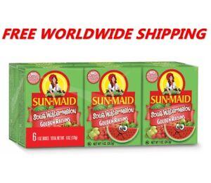 Sun-Maid Sauer Wassermelone Golden Rosinen eine Packung (6 CT) Weltweit Versand