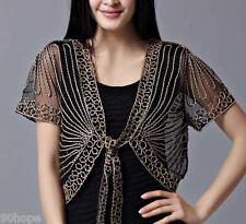 New Ladies Lace Bolero Shrug Boho Party Short Sleeve Cardigan Jacket Tops Blouse