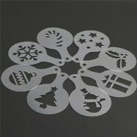 8X/set Cake Stencils Mold Christmas Coffee Mold Pastry Tools Cookie Decor .ÁÍ