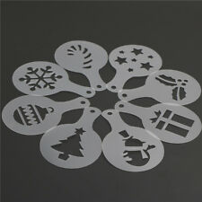 8X/set Cake Stencils Mold Christmas Coffee Mold Pastry Tools Cookie DecorationZS