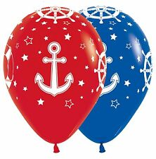 12 NAUTICAL DESIGN  RED BLUE WHITE BALLOONS PARTY DECORATIONS SAILING ANCHOR